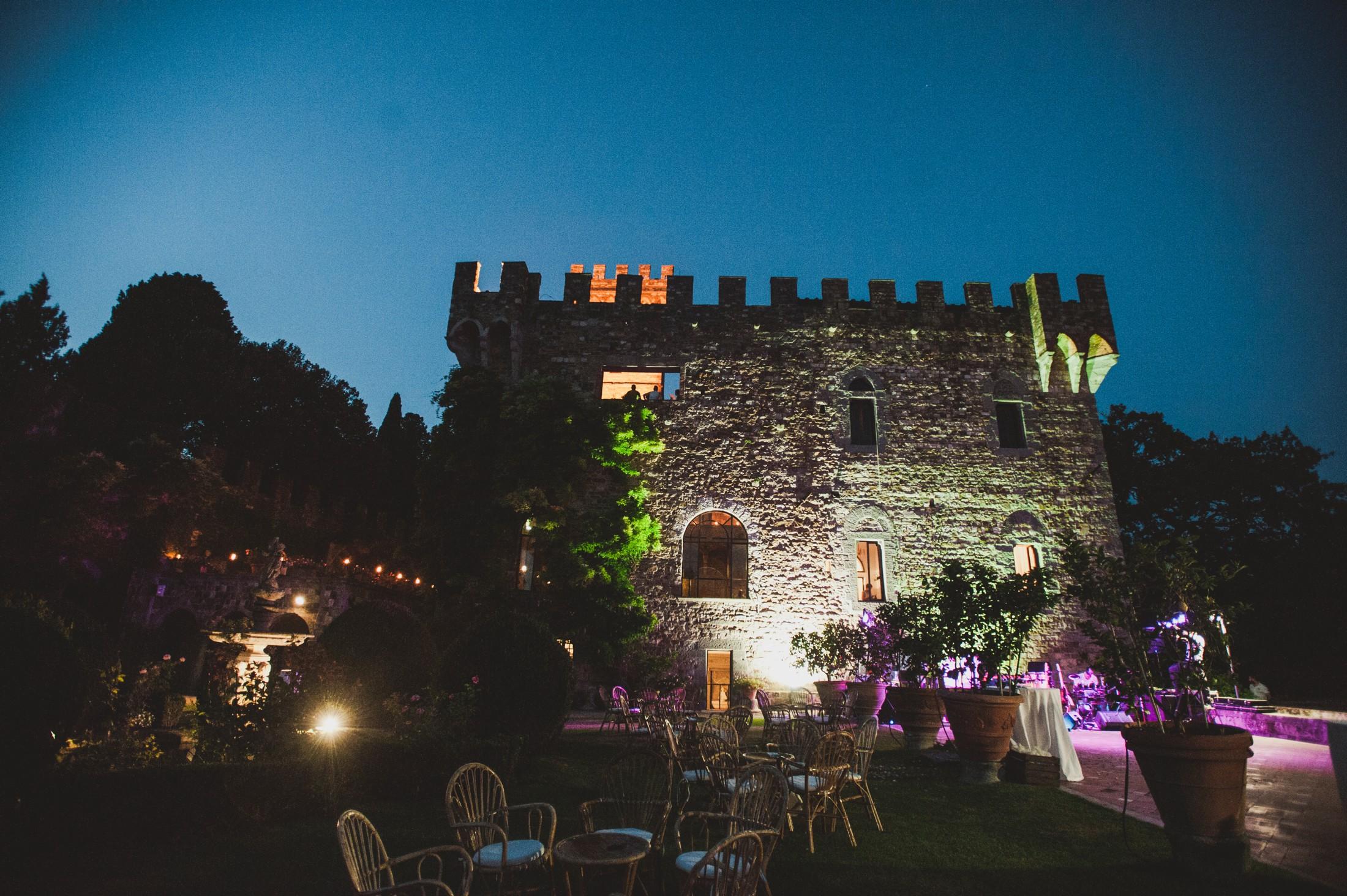 vincigliata castle by night