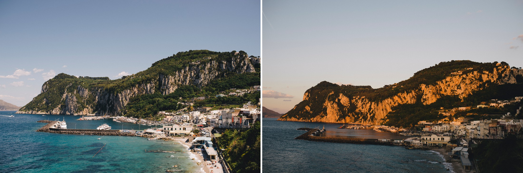 collage capri coast morning and sunset time