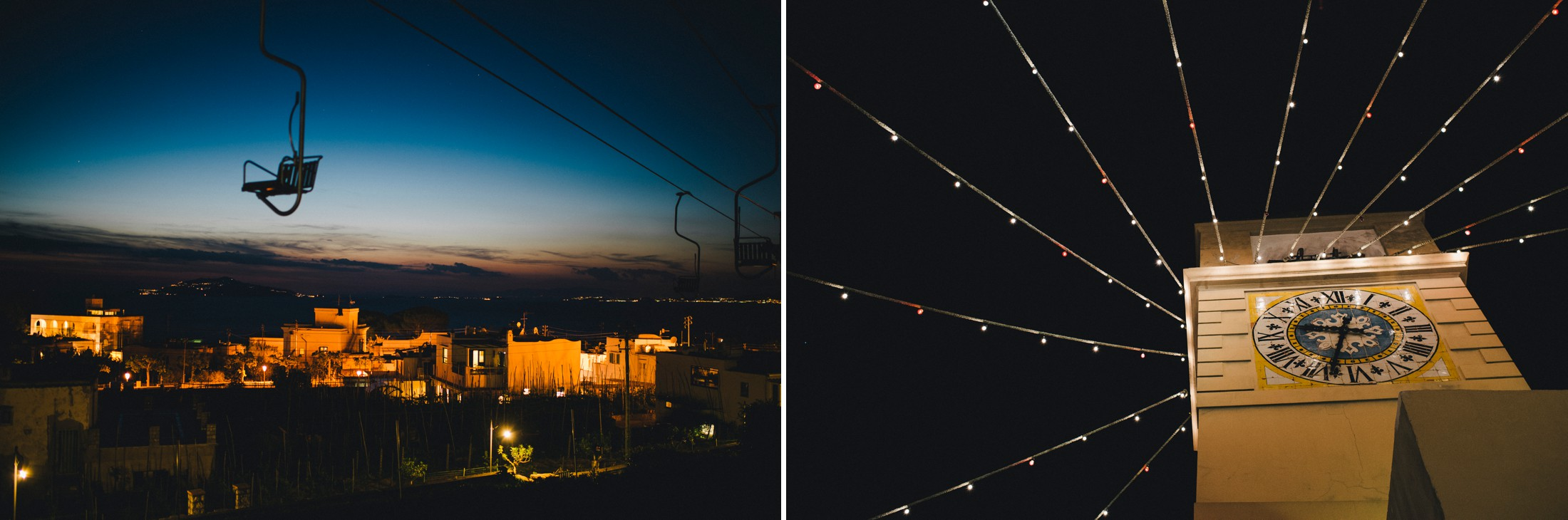 collage details from capri island by night
