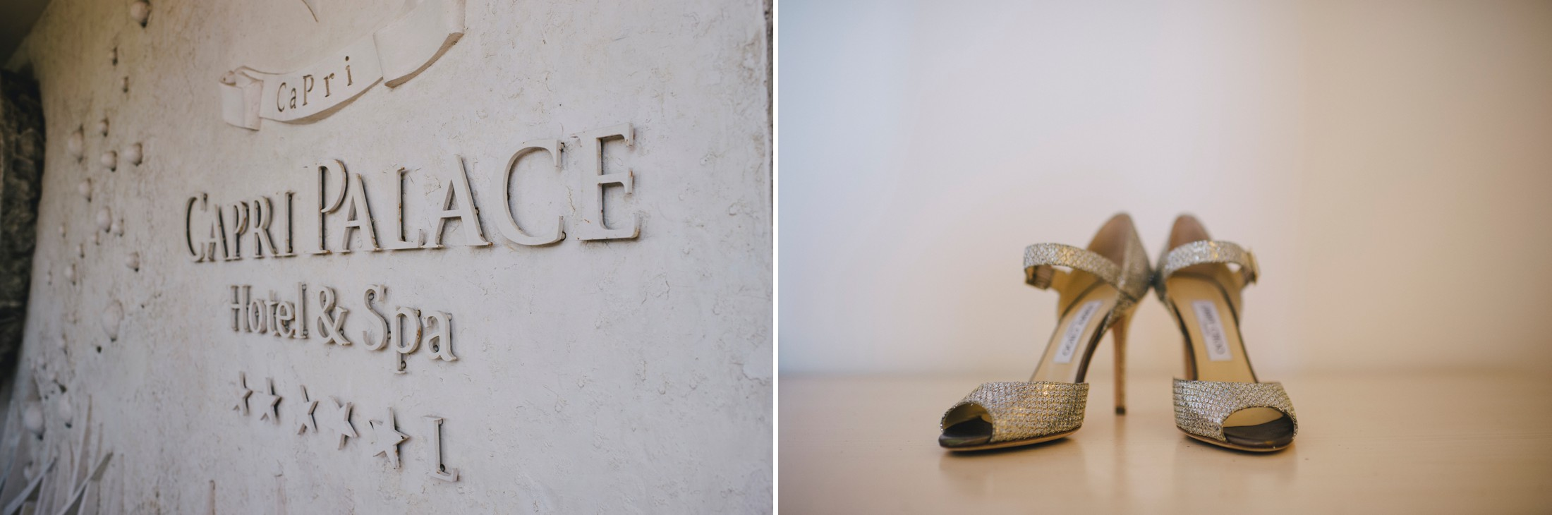 collage bride's shoes and capri palace entrance