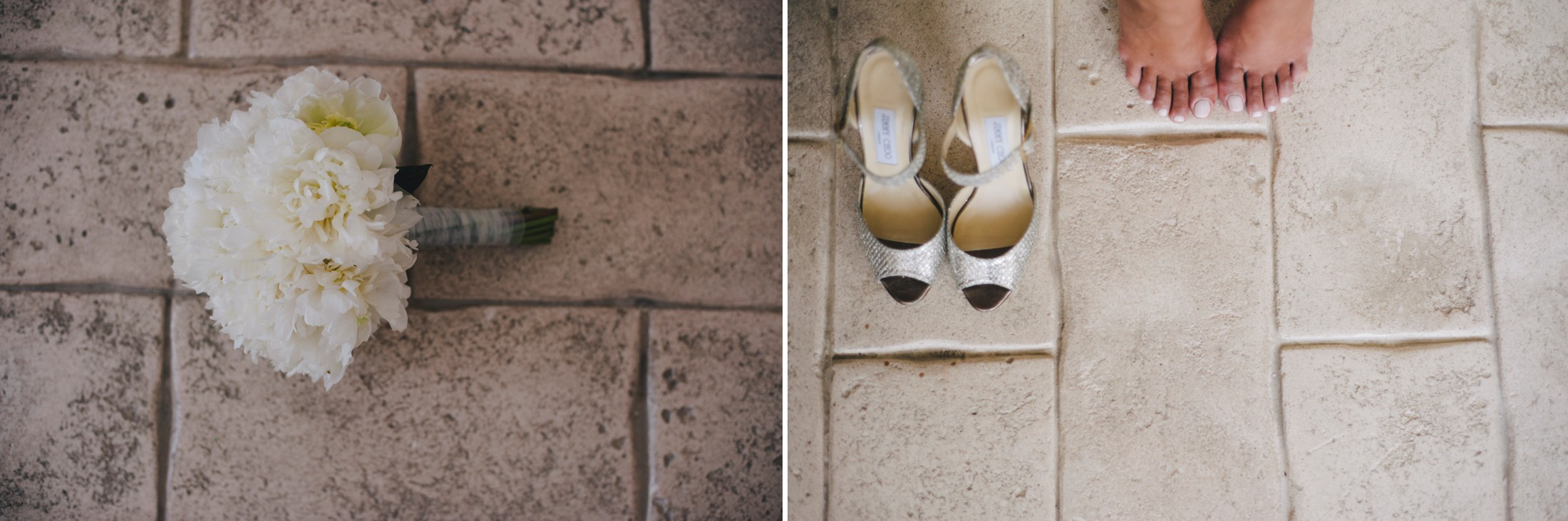 collage wedding shoes and bouquet