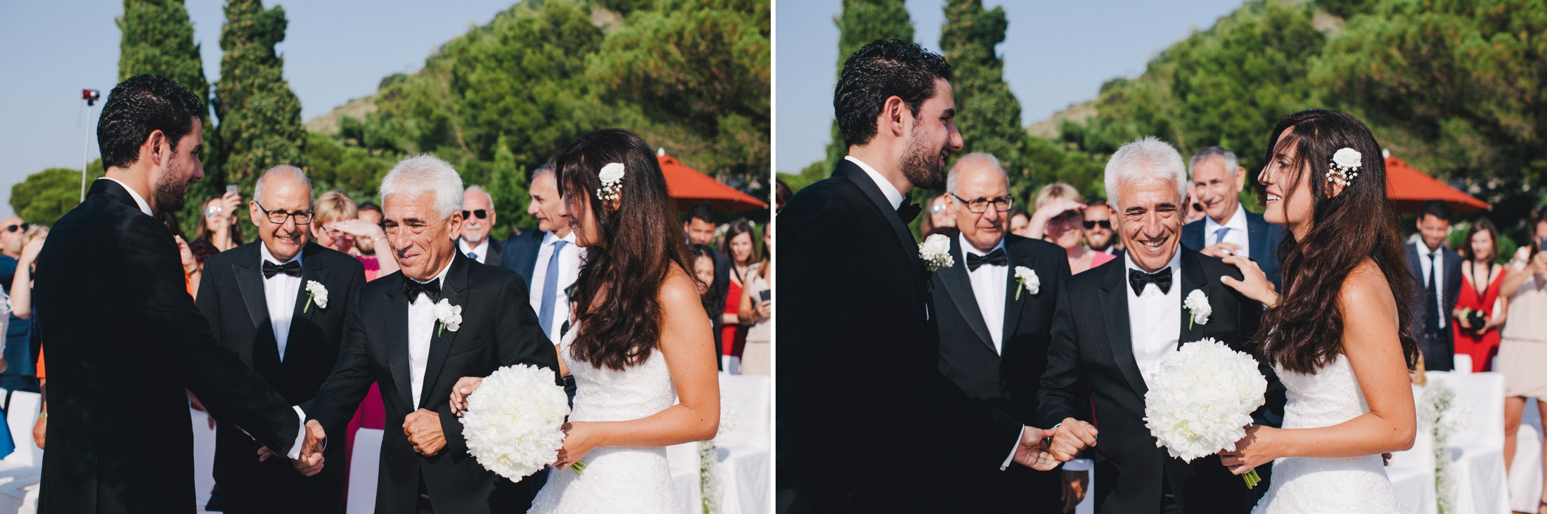 collage the bride join the groom at the aisle