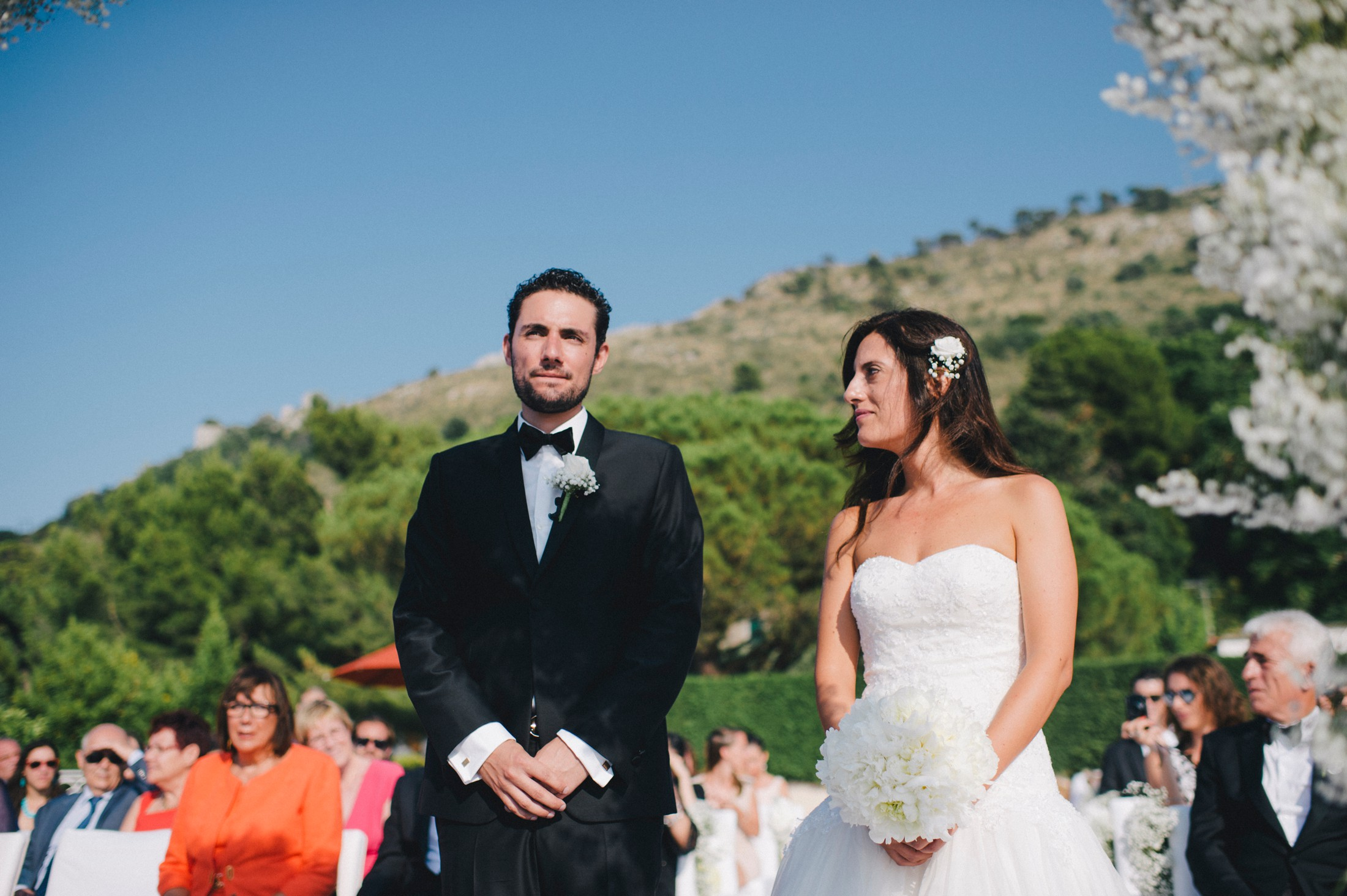 bride and groom during the wedding ceremony