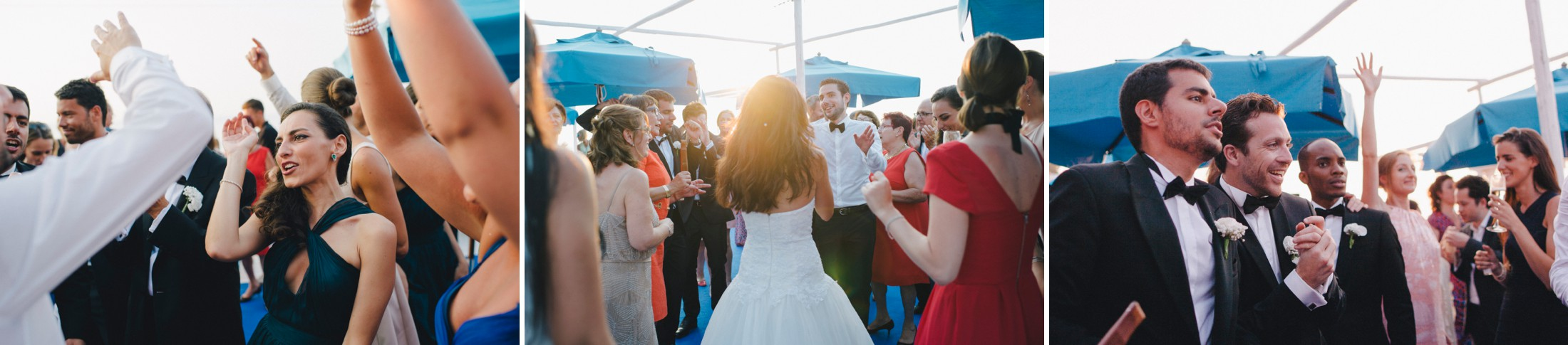 collage wedding guests dancing