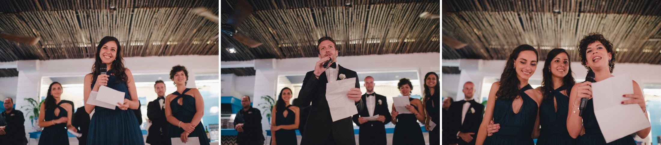 best man and bridesmaids during the speeches collage