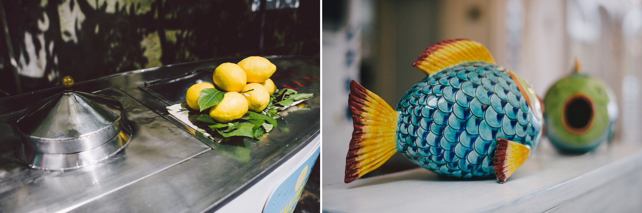 collage lemons ceramic fish wedding in Positano