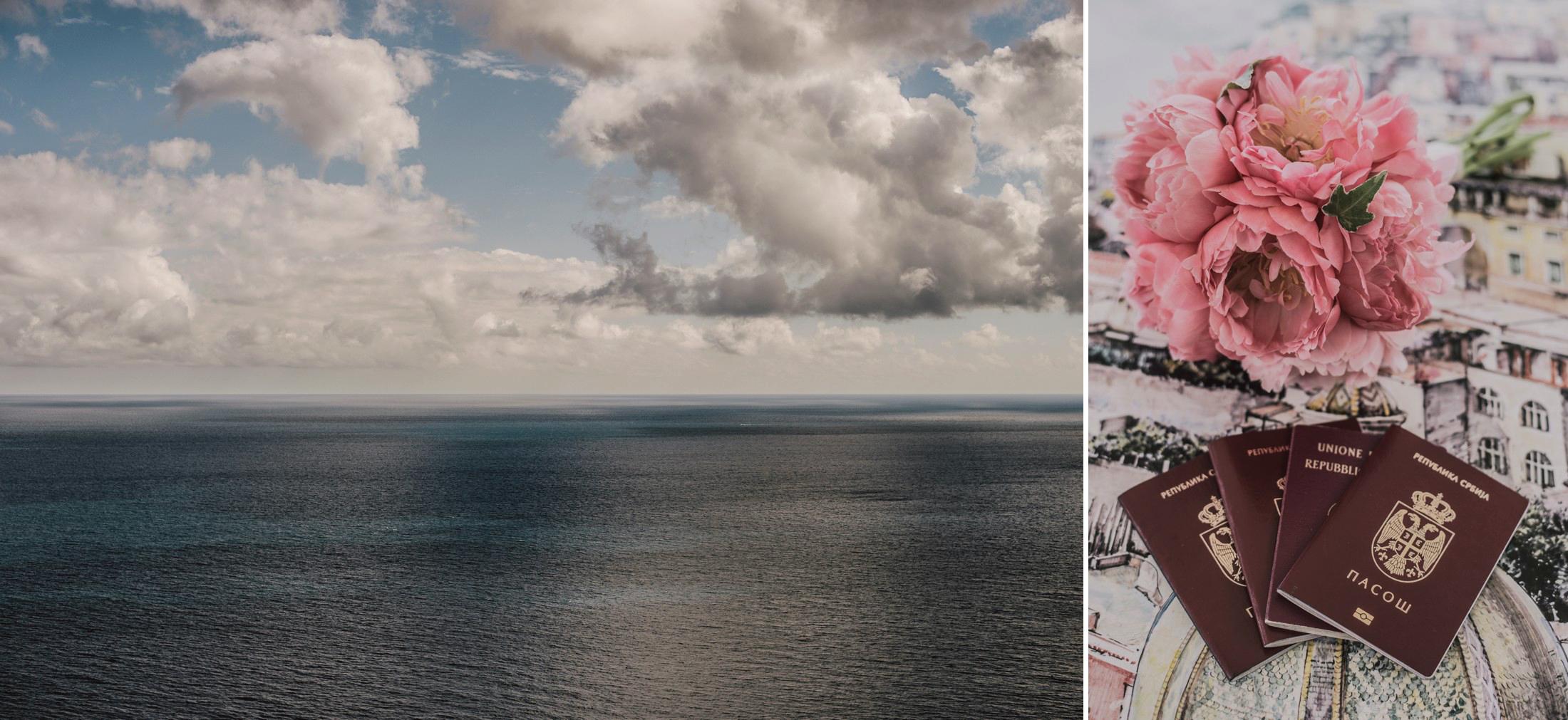 collage sea and wedding bouquet positano