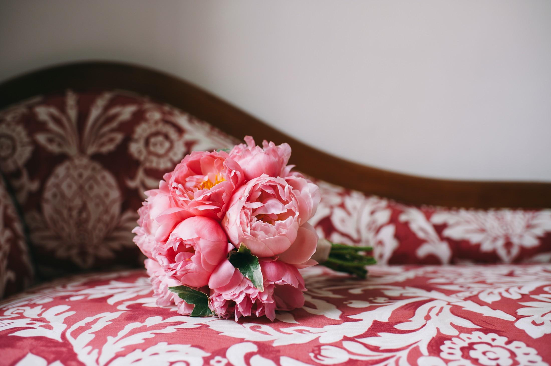 pink peony wedding bouquet positano