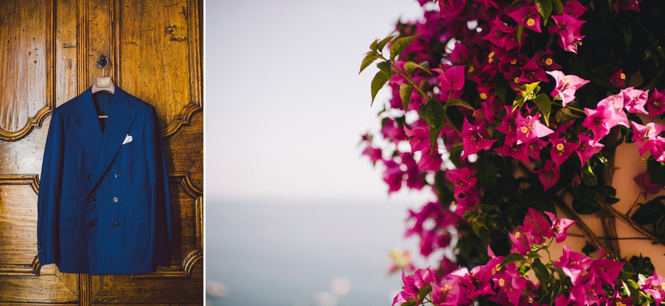 collage pink flowers and groom's suite wedding in positano