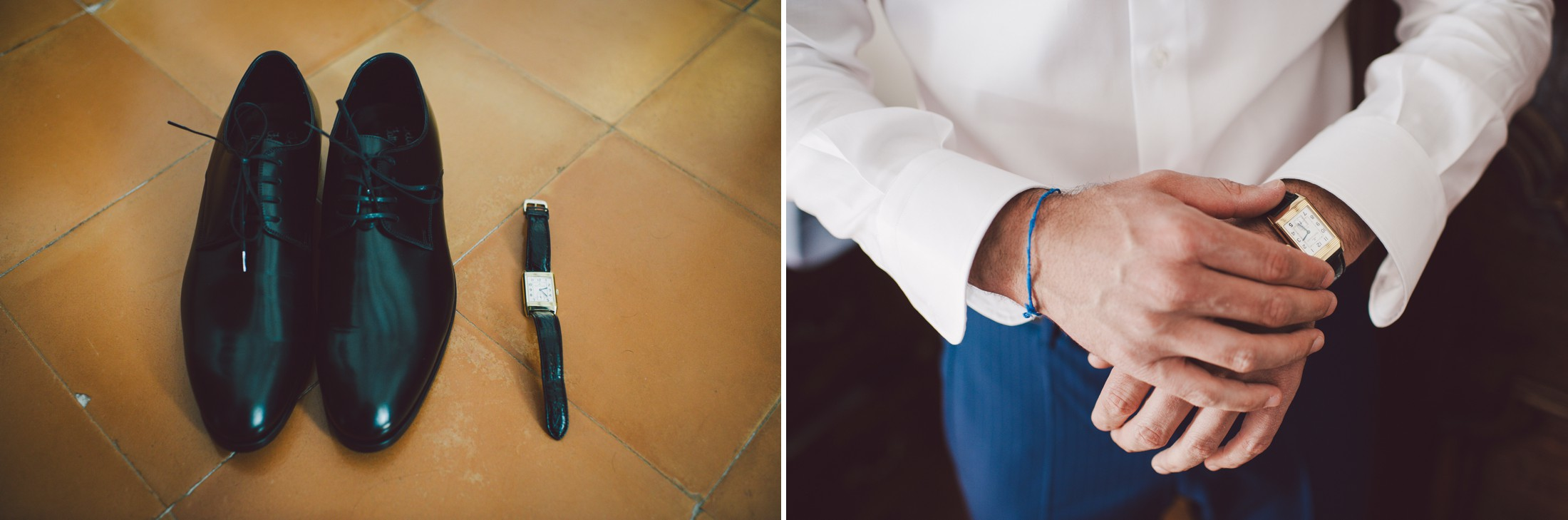 collage wedding details groom's watch and shoes