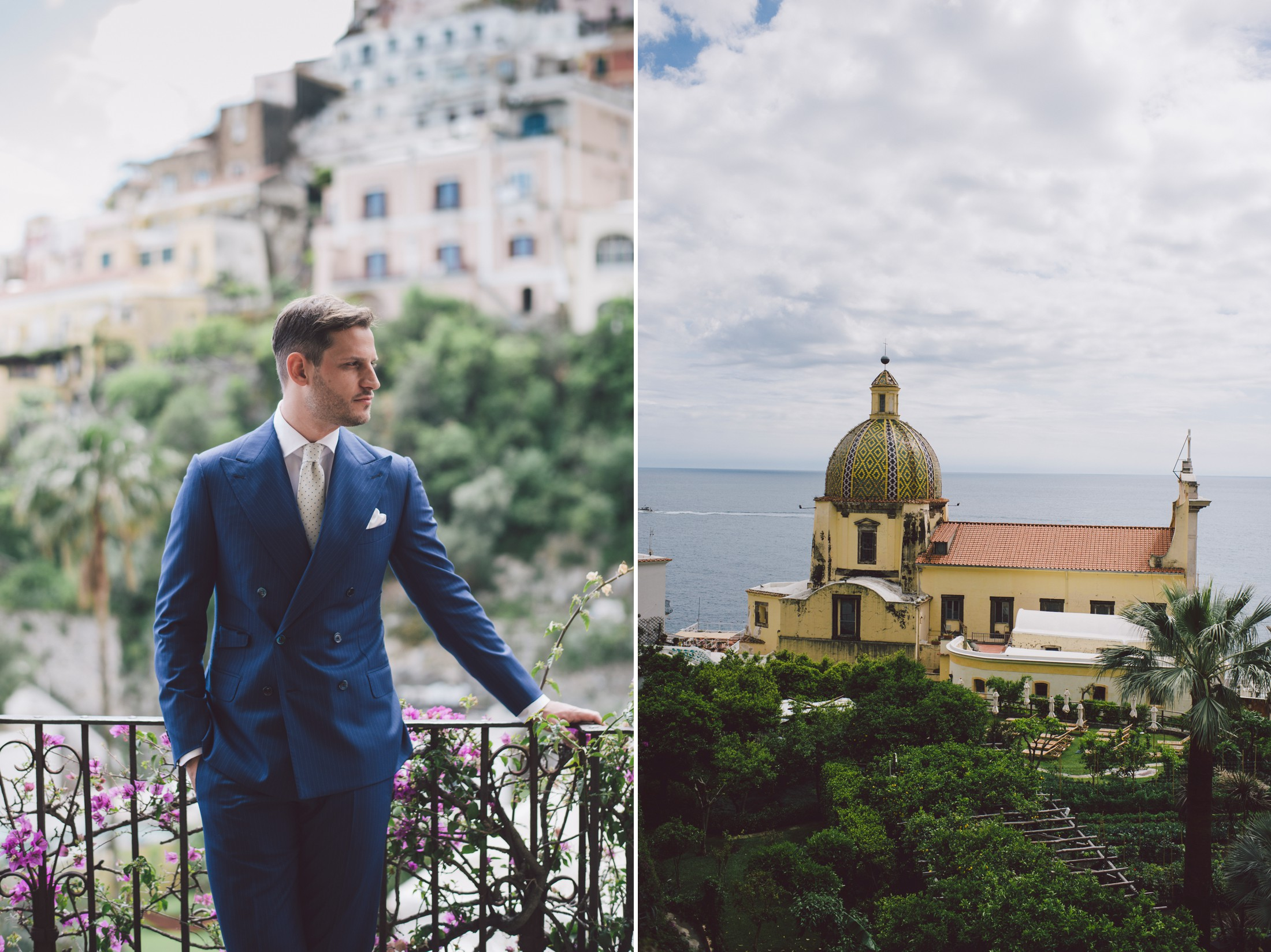 collage groom's portrait positano landscape