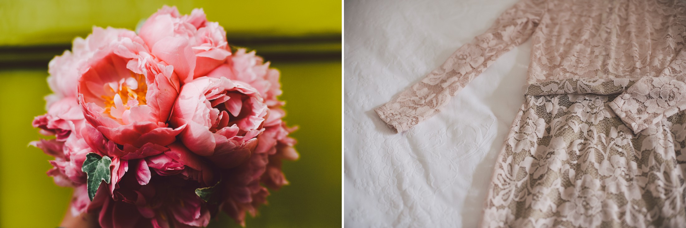 collage peony wedding bouquet and bride's wedding dress