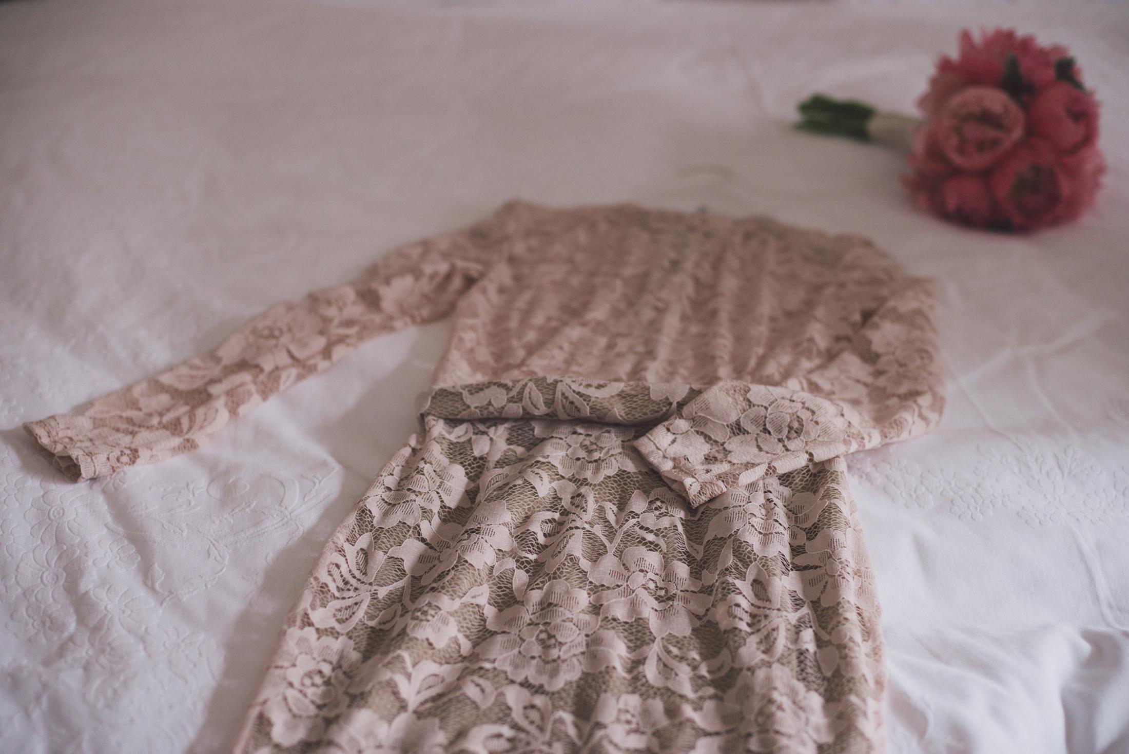 bride's pink wedding dress positano