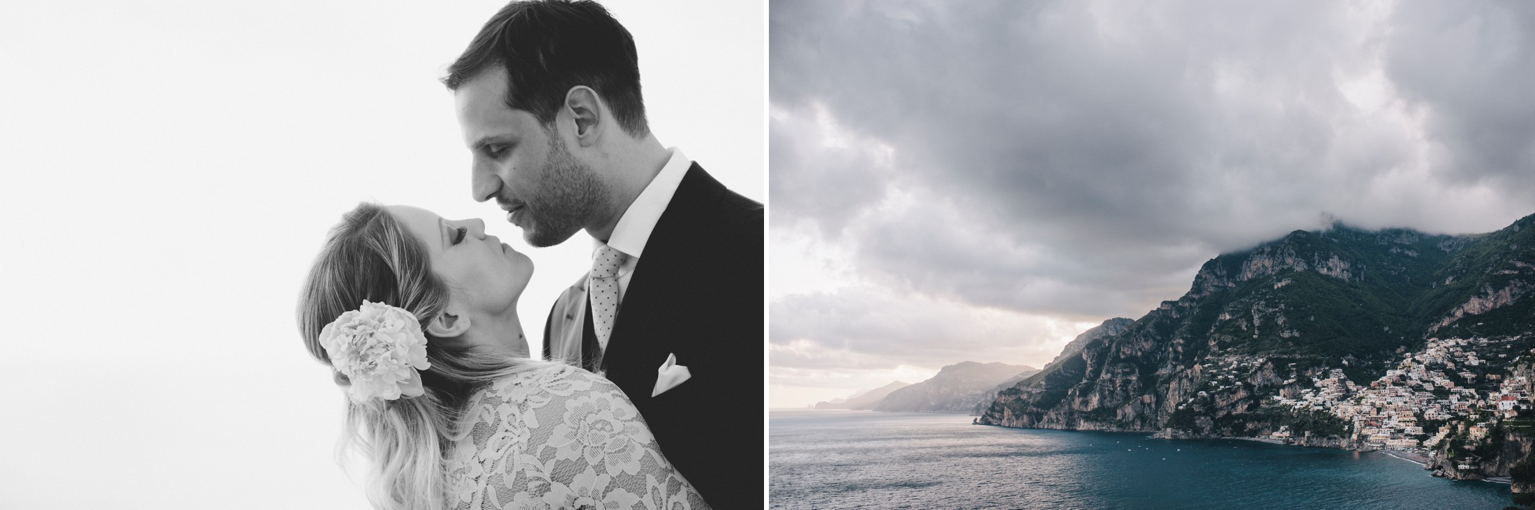 collage the bride and the groom kissing in black and white and the sea