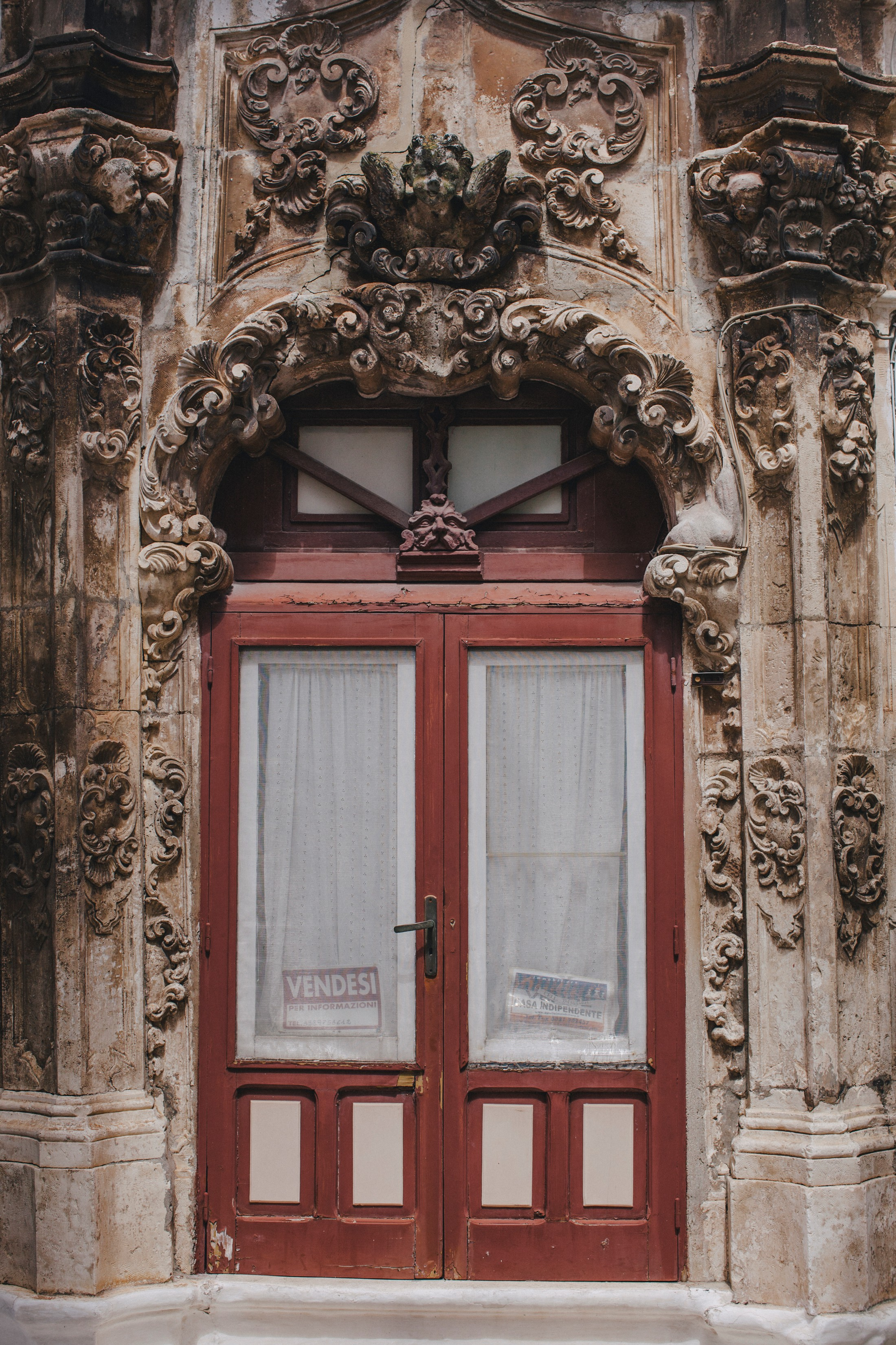 detail of a brown door in ostuni, apulia