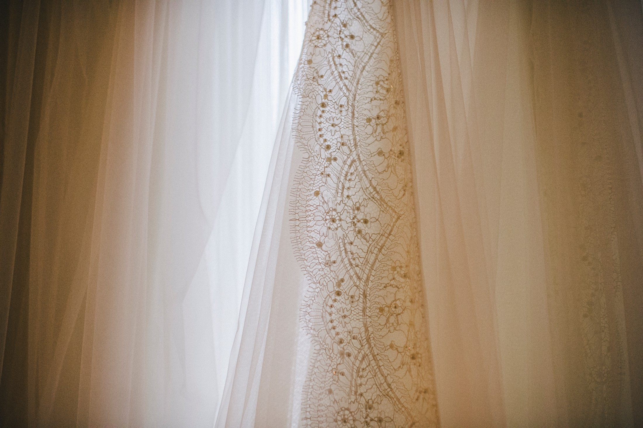 bride's dress detail
