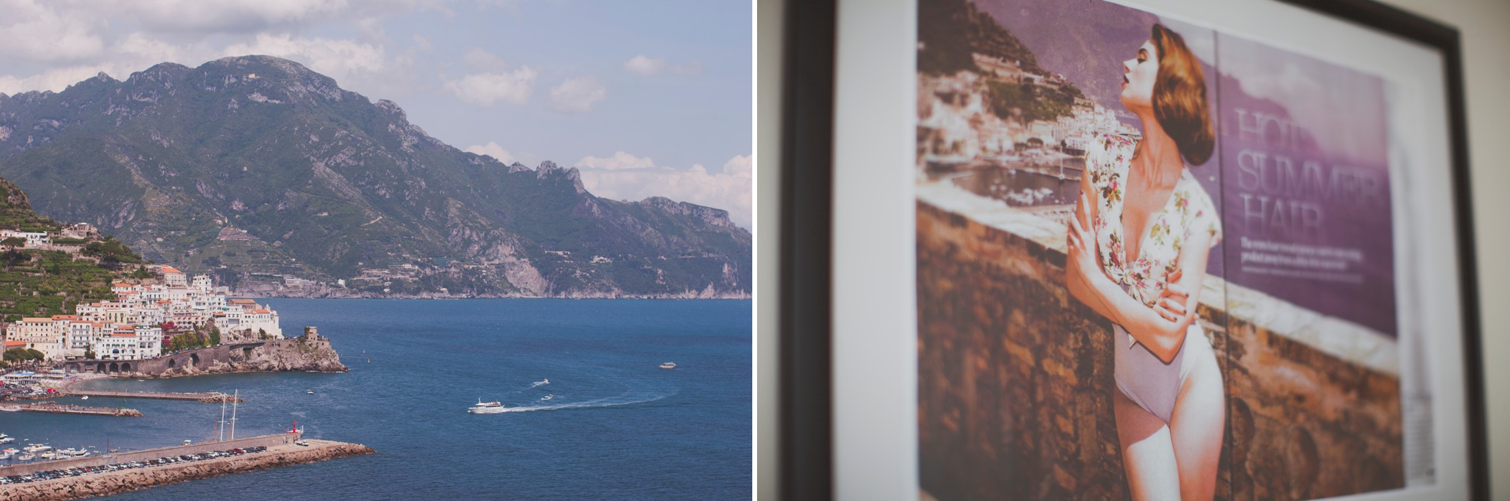 collage sea view and a poster on the wall