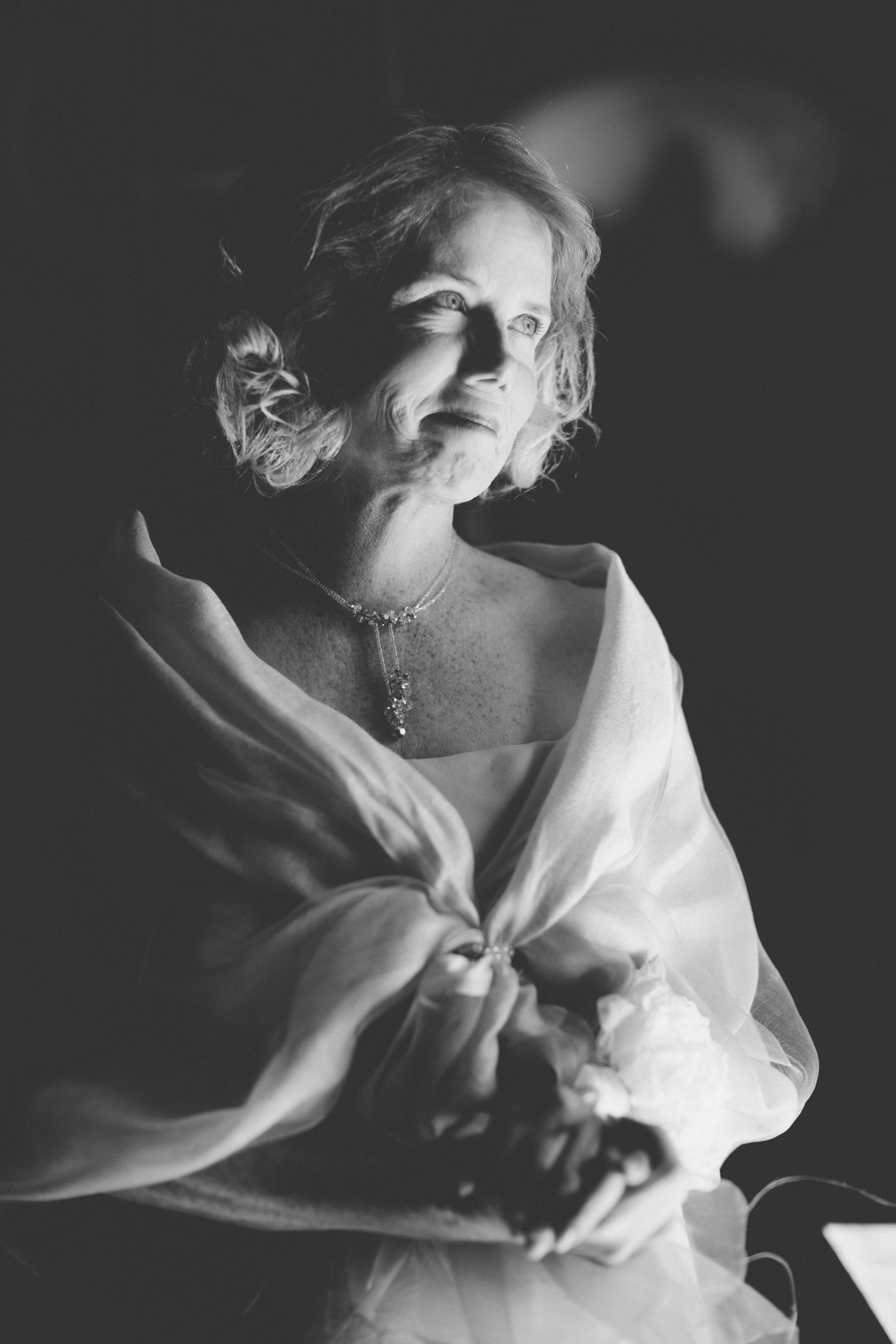 groom's mother portrait in black and white
