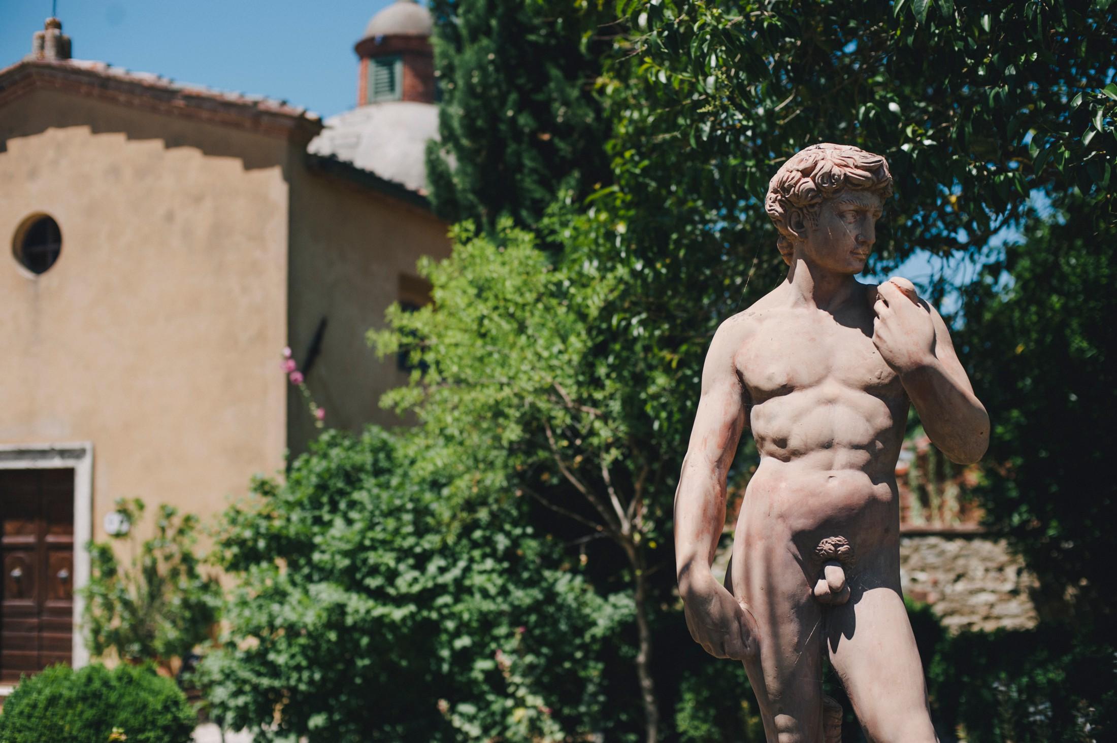marble statue at Borgo Casa Bianca, Tuscany