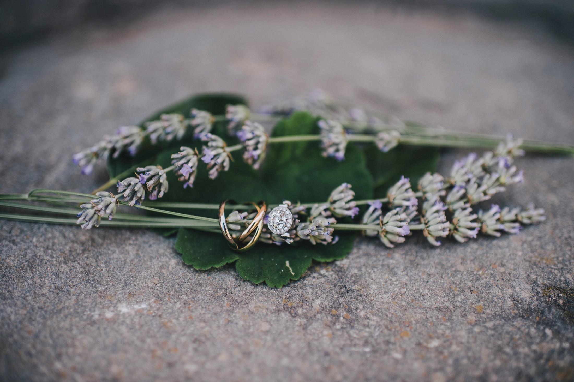 wedding rings with lavanda flowers