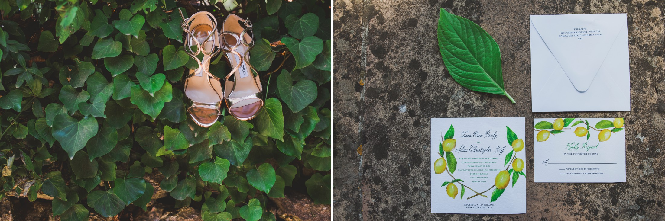 collage wedding detail shoes and invitation cards