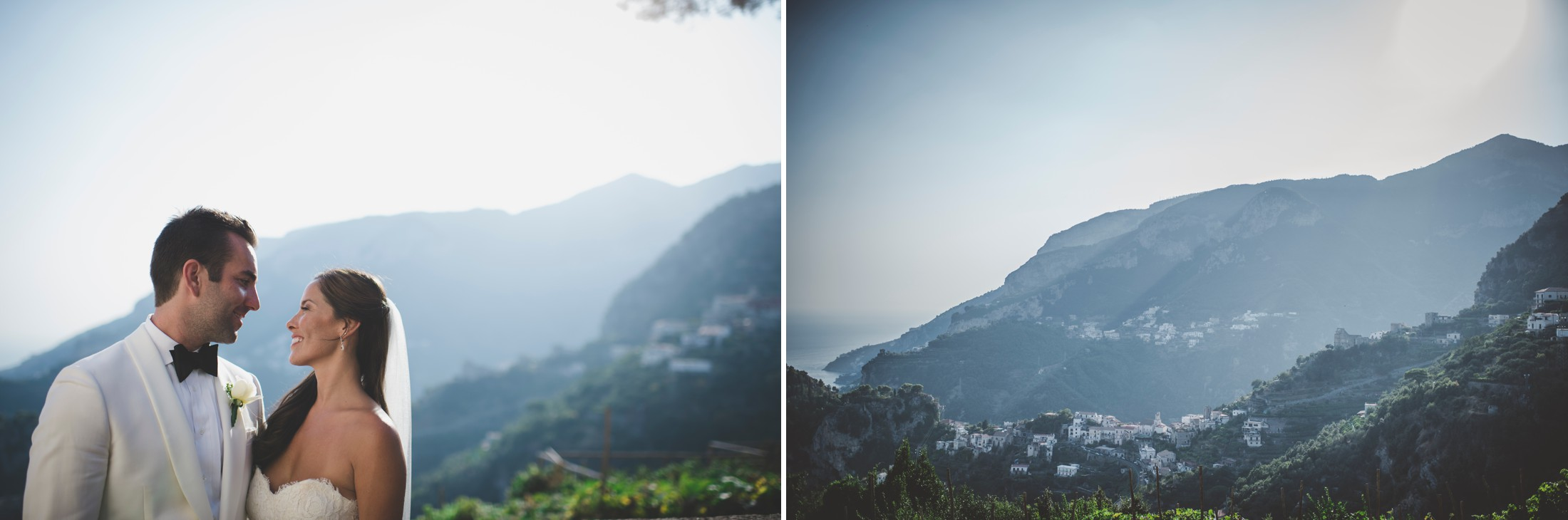 collage deride and groom's portrait and landscape from ravello